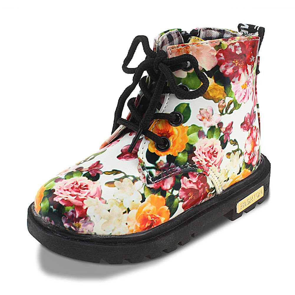 Maxu Kid Girl's Floral Boots Lace Up Booties White Flower,Little Kid Size 12