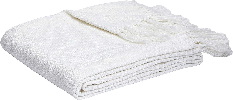 AmazonBasics Lightweight Cotton Woven Throw Blanket - 90 x 90, White