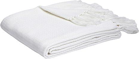Amazon Com Amazon Basics Lightweight Cotton Woven Throw Blanket 90 X 90 White Home Kitchen