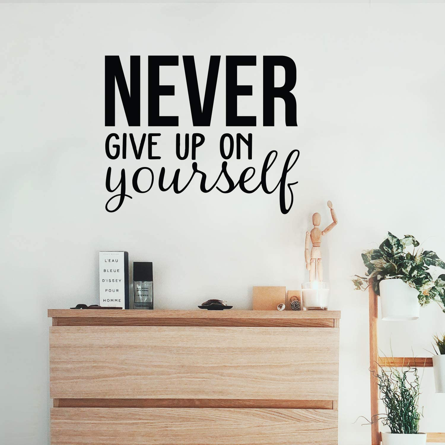 """Vinyl Wall Art Decal - Never Give Up On Yourself - 22"""" x 27"""" - Modern Motivational Self Esteem Quote Sticker for Optimism Teen Bedroom Living Room Home Work Office Classroom Decor (Black)"""
