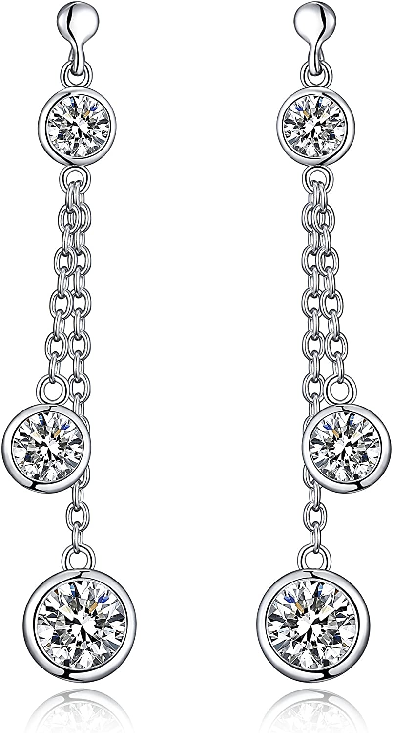 New Arrival Sterling Silver Dangle Drop Earrings With Simulated Diamonds And Comfort Fit Ear posts