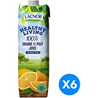 Lacnor Healthy Living Orange Juice - Pack Of 6 Pieces (6 X 1 Liter), 6 Liter