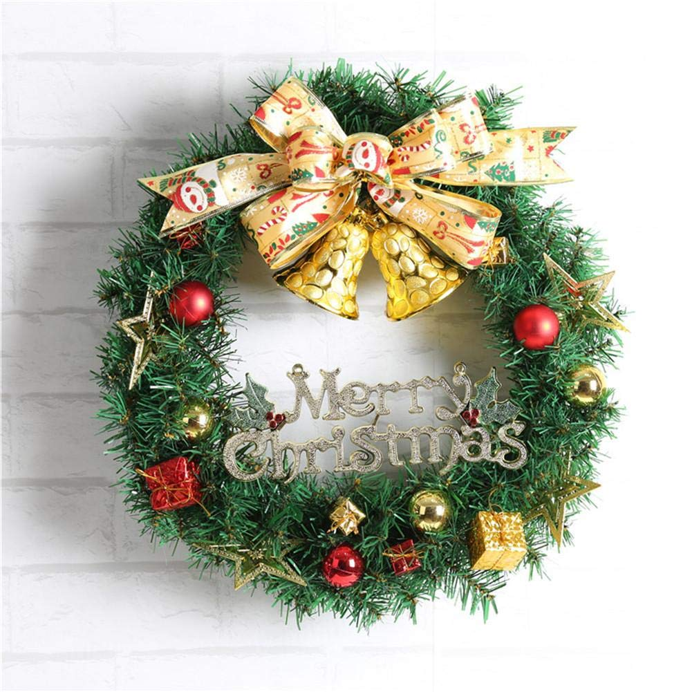 Ribbon Bell Christmas Wreath Artificial Wreath Decorative Wreath Home Window Shopping Mall Hotel Decoration Christmas Decoration by Topaty (Image #1)