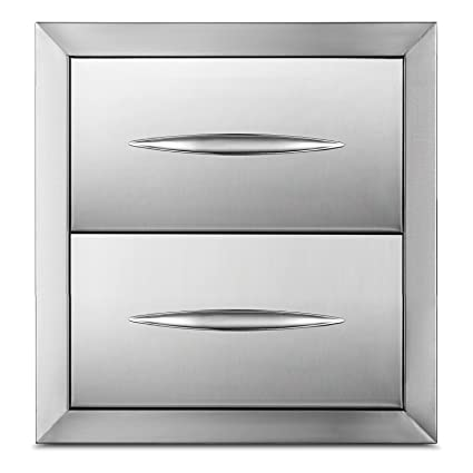 outdoor kitchen drawers wood happybuy outdoor kitchen drawer 1438quotx14quot stainless steel bbq island drawer storage with chrome amazoncom 1438