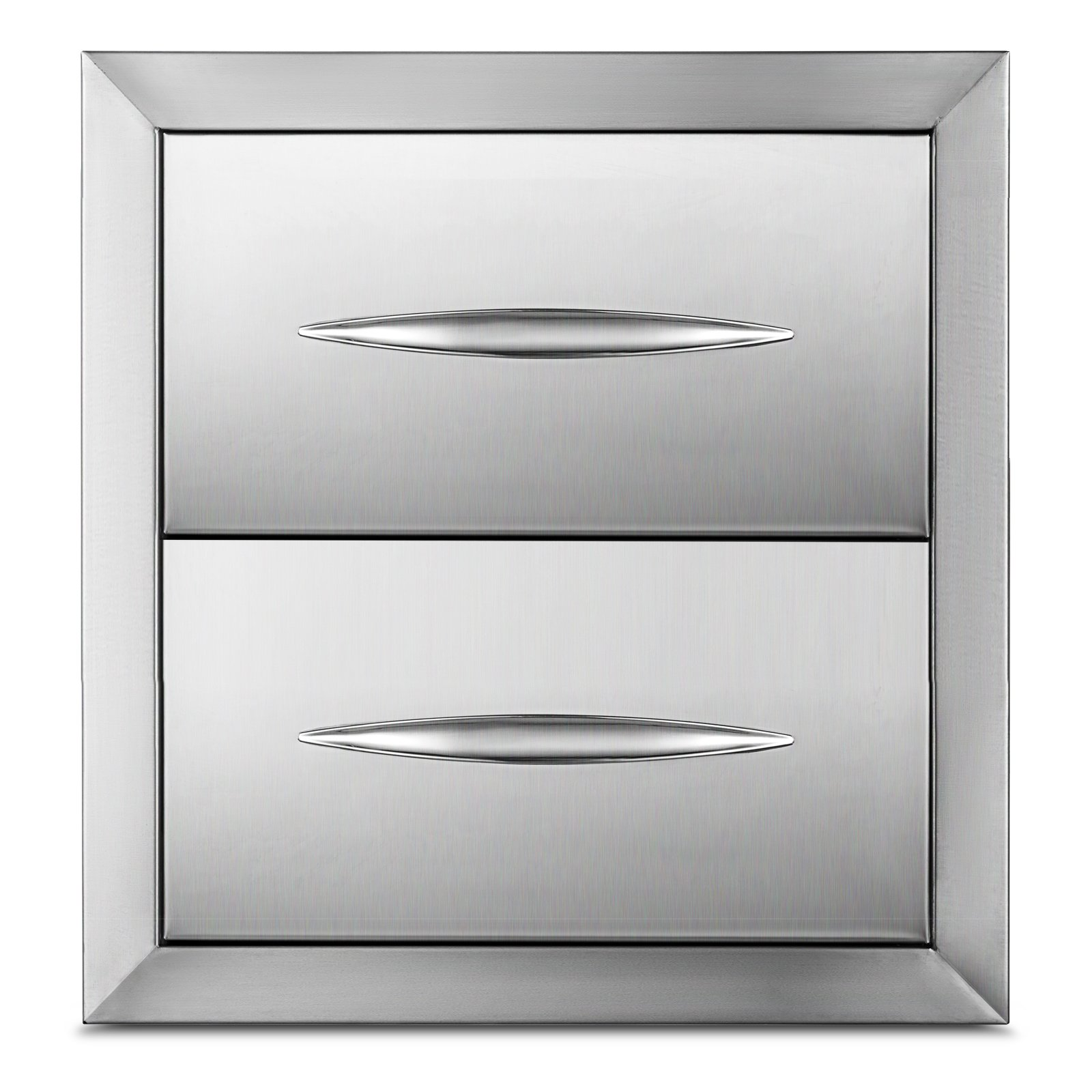 Happybuy Outdoor kitchen drawer 14.38''x14'' Stainless steel BBQ Island Drawer storage with Chrome Handle Double Access Drawer Flush Mount Sliver Double Access Drawer (Outdoor kitchen Drawer 14.38''x14'')