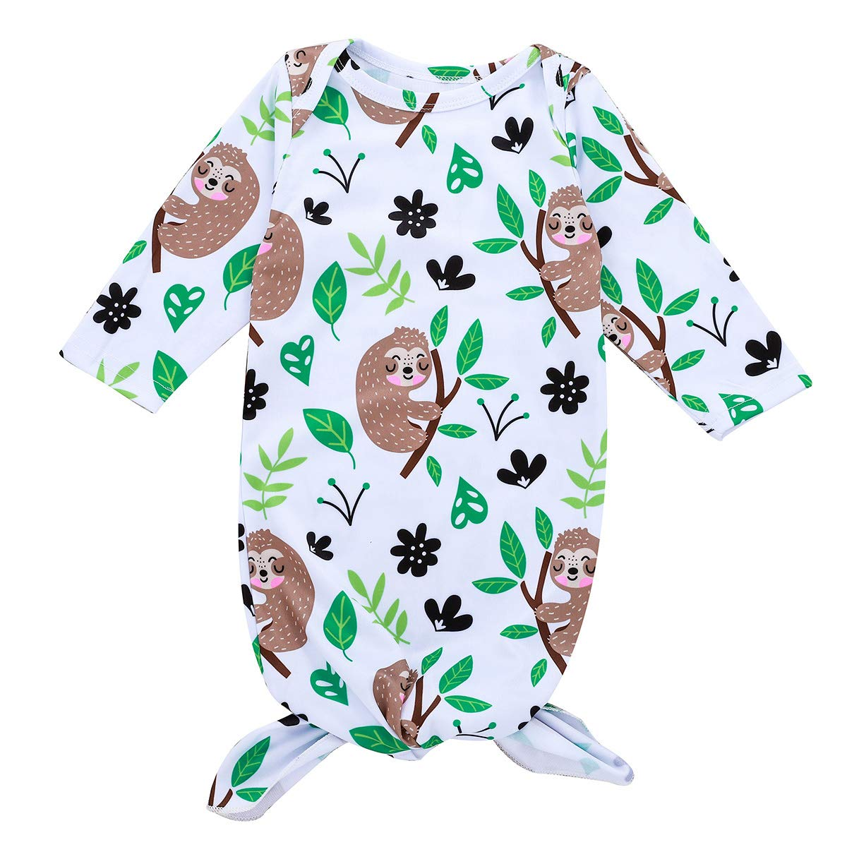 puseky Baby Unisex Cartoon Sloth Sleeping Bag Long Sleeve Bath Robe Night Gown Sleep Sack