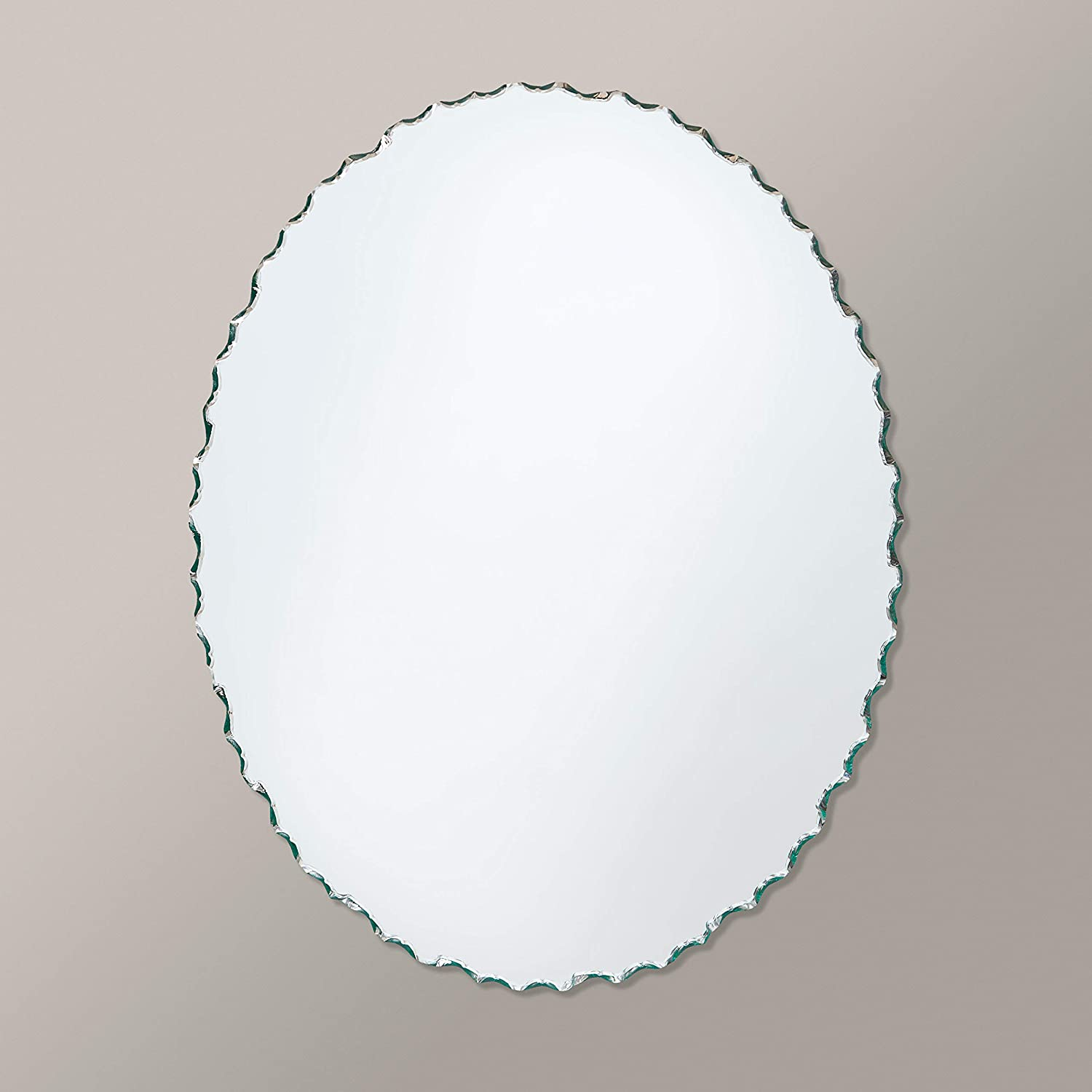 The Better Bevel Small Frameless Oval Wall Mirror Chiseled Edge Bathroom, Vanity, Bedroom Mirror 22-in x 28-in