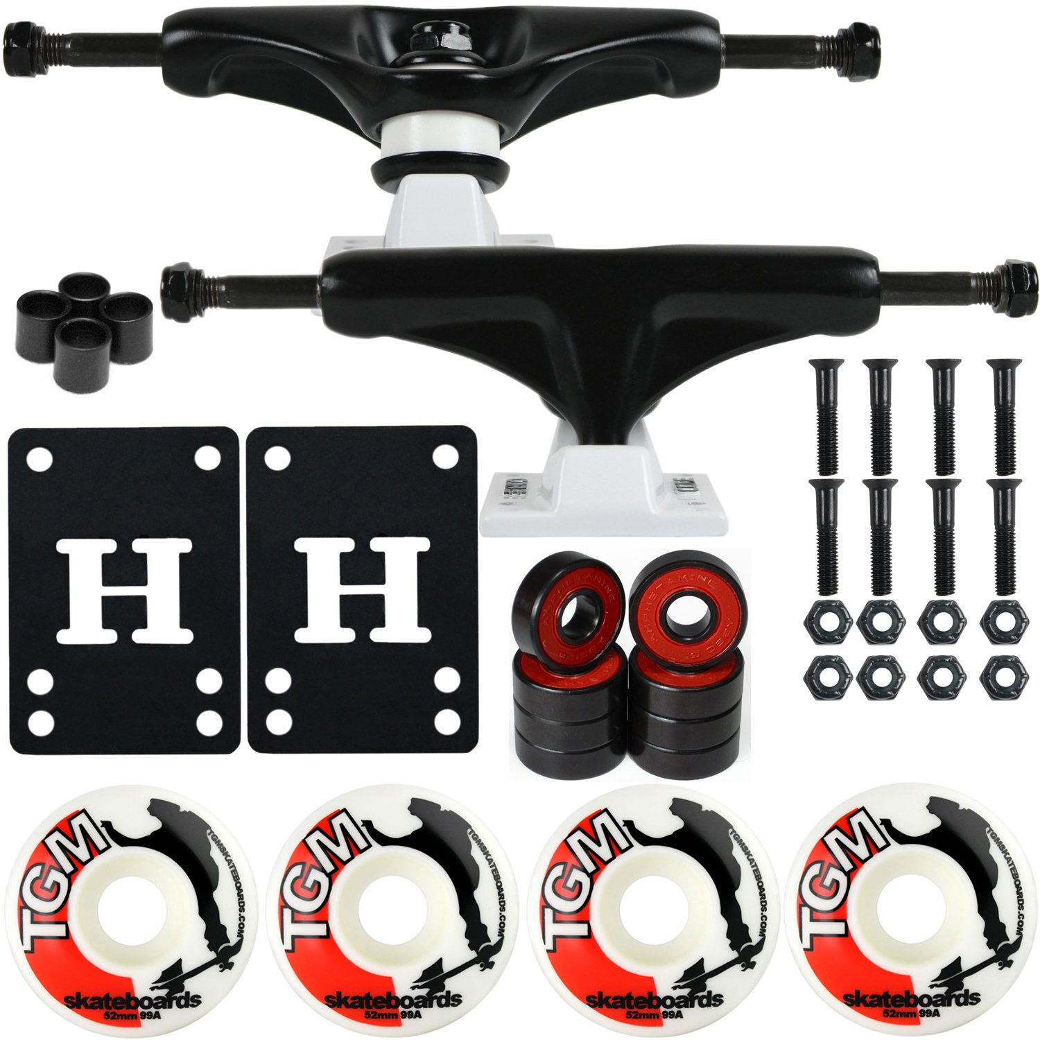 CORE Skateboard Package 5.0'' Trucks 52mm with White Wheels + Components (Black Hanger/White Base) by CORE