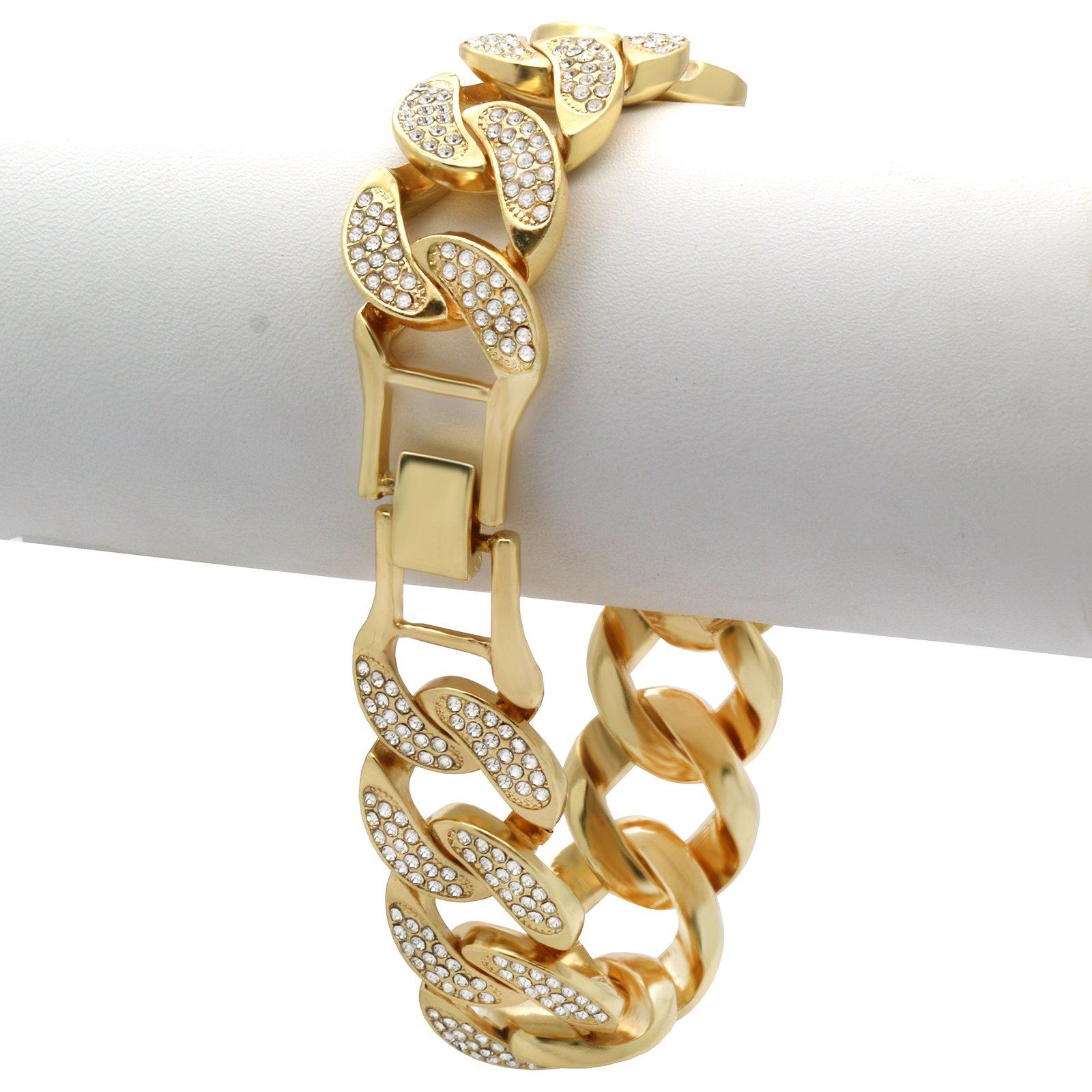 L & L Nation Gold Tone 20mm Cuban Link Lobster Lock Iced Out Clear Cz Stones Hip Hop Bracelet 9'' Inch PLUS Cz Earrings SET