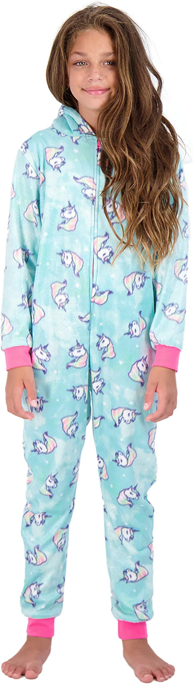 7//8 Childrens Girls Teenagers Cosy Sparkle Star Detail Unicorn All in One Onesie with 3D Horn and Mane White