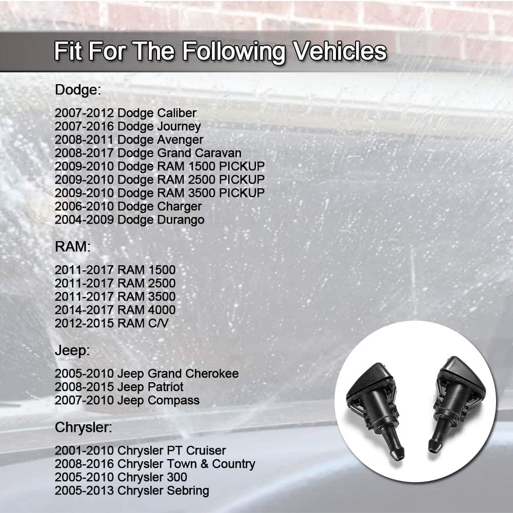 Front Windshield Washer Nozzles Spray Jet Kit 4805742AB 5160308AA for Dodge Ram 1500 2500 3500 Jeep Grand Cherokee Chrysler Town and country