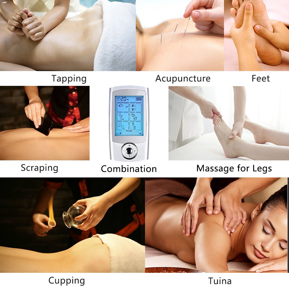 Yimaler Tens Unit Rechargeable Electric Muscle Stimulator with 12 Pads 16 Modes Pulse Impulse Mini Therapy Massager Machine for Pain Relief FDA Approved 2017 Upgrade by Yimaler (Image #3)