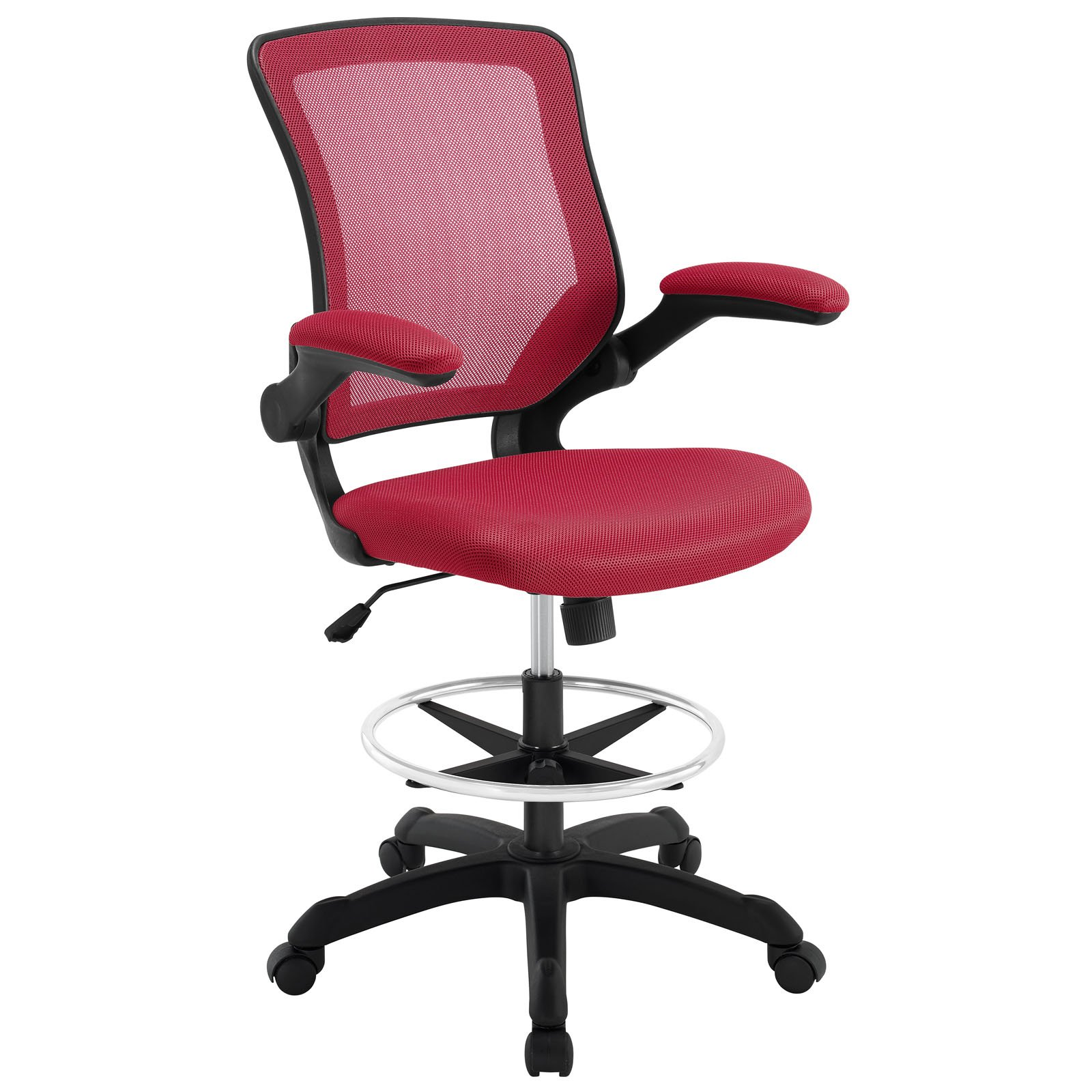 Modway Veer Drafting Chair In Red - Reception Desk Chair - Tall Office Chair For Adjustable Standing Desks - Flip-Up Arm Drafting Table Chair...