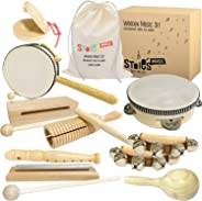 Stoie's International Wooden Music Set for Toddlers and Kids- Eco Friendly Musical Set with A Cotton Storage Bag - Promote E