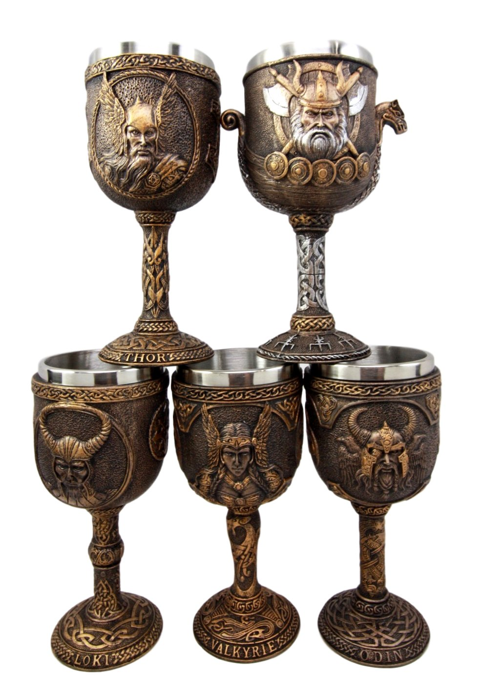 Atlantic Collectibles Norse Mythology Viking Deities Odin Loki Thor Valkyrie Battle Longship 7oz Resin Wine Goblet Chalice Set of 5 With Stainless Steel Liner