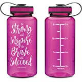 2772124833 AQUANEÜ 34oz Motivational Fitness Workout Sports Water Bottle with Time  Marker | Measurements | Goal Marked