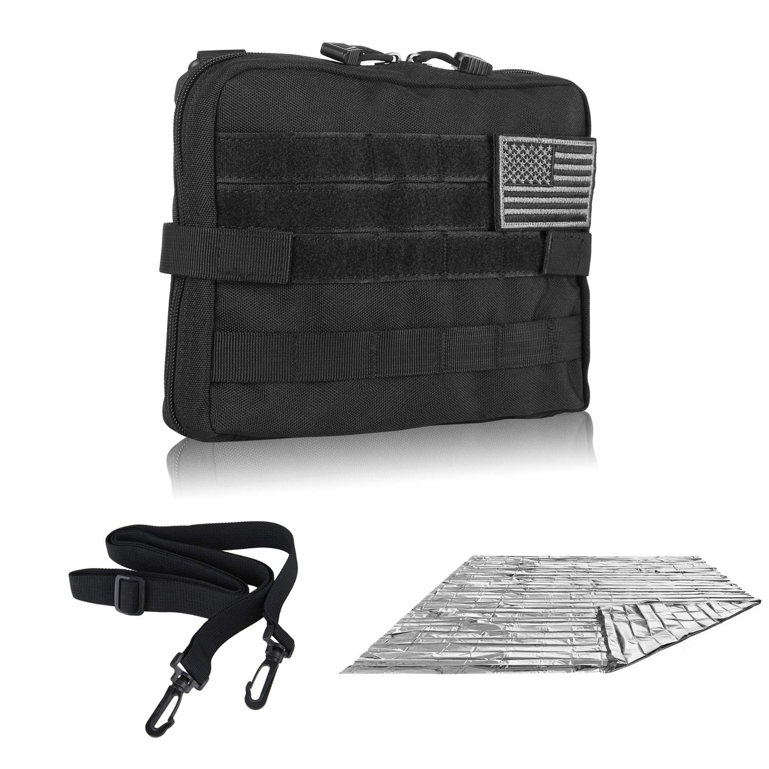 DELSWIN Tactical Molle Pouch - Medical ETM Utility Bag EDC Organizer Admin Pouch Tool Bag with Adjustable Strap & Emergency Blanket (Black)
