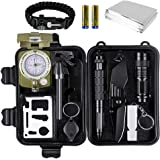 SMARTAKE Survival Kit, 14-in-1 Emergency Kit Outdoor Survival Gear with Military Compass/Flashlight/Emergency Blanket and More for Camping/Hiking/Climbing, Batteries Included