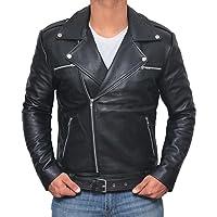 Motorcycle Negan Leather Jacket Men - Mens Genuine Lambskin Black Jackets for Biker
