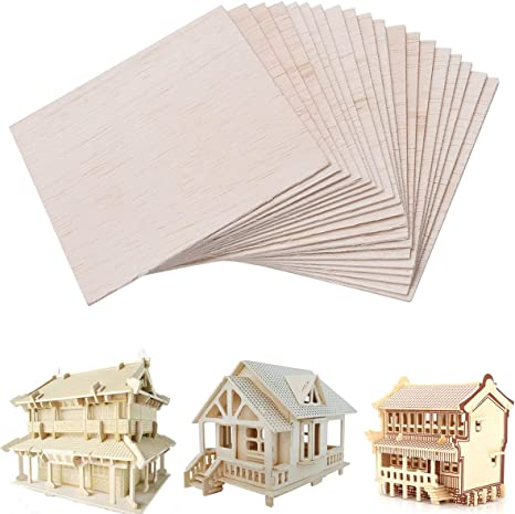 Amazon Com Unfinished Wood Sheet Diy Supplies Blank Wooden Plate Model Slices Wooden Squares Cutouts Home Decoration 4 X 4 Inches 1mm 20 Pieces