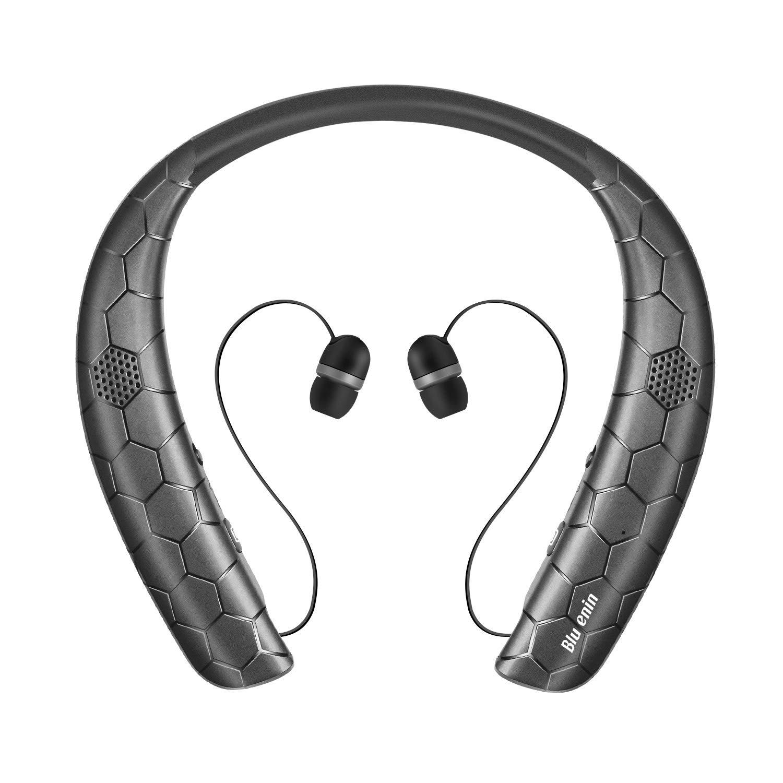 Bluetooth Headphones Speaker 2 in 1, Bluenin Neckband Wireless Bluetooth 5.0 Headset with Retractable Earbuds,15 Hrs Playtime True 3D Stereo Sound Wearable Speaker Sweatproof Earphones Built in Mic