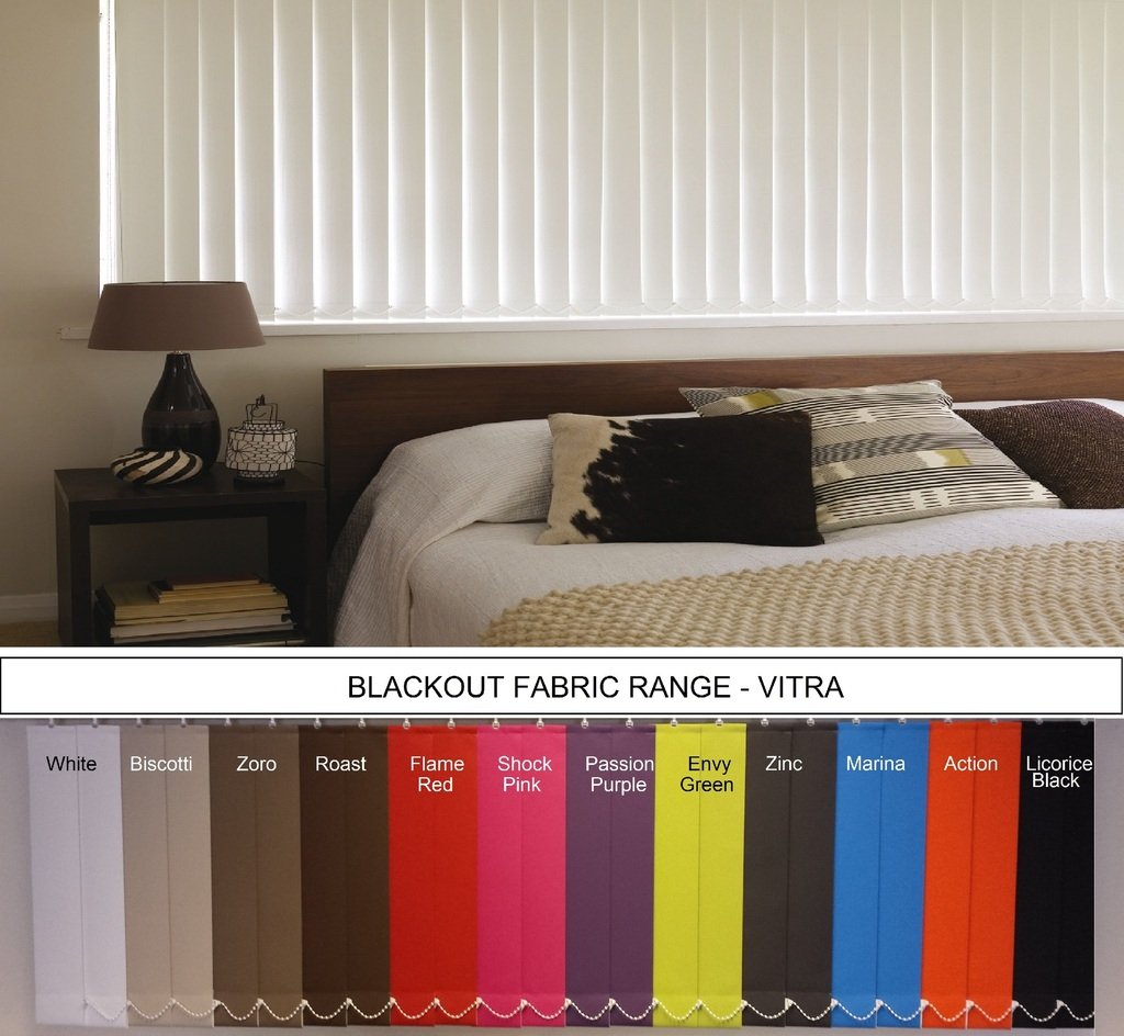**Bargain** Vertical Blind replacement BLACKOUT SLATS / LOUVRES - 89mm VITRA choice of 12 colours made to your exact size. TyneBlinds