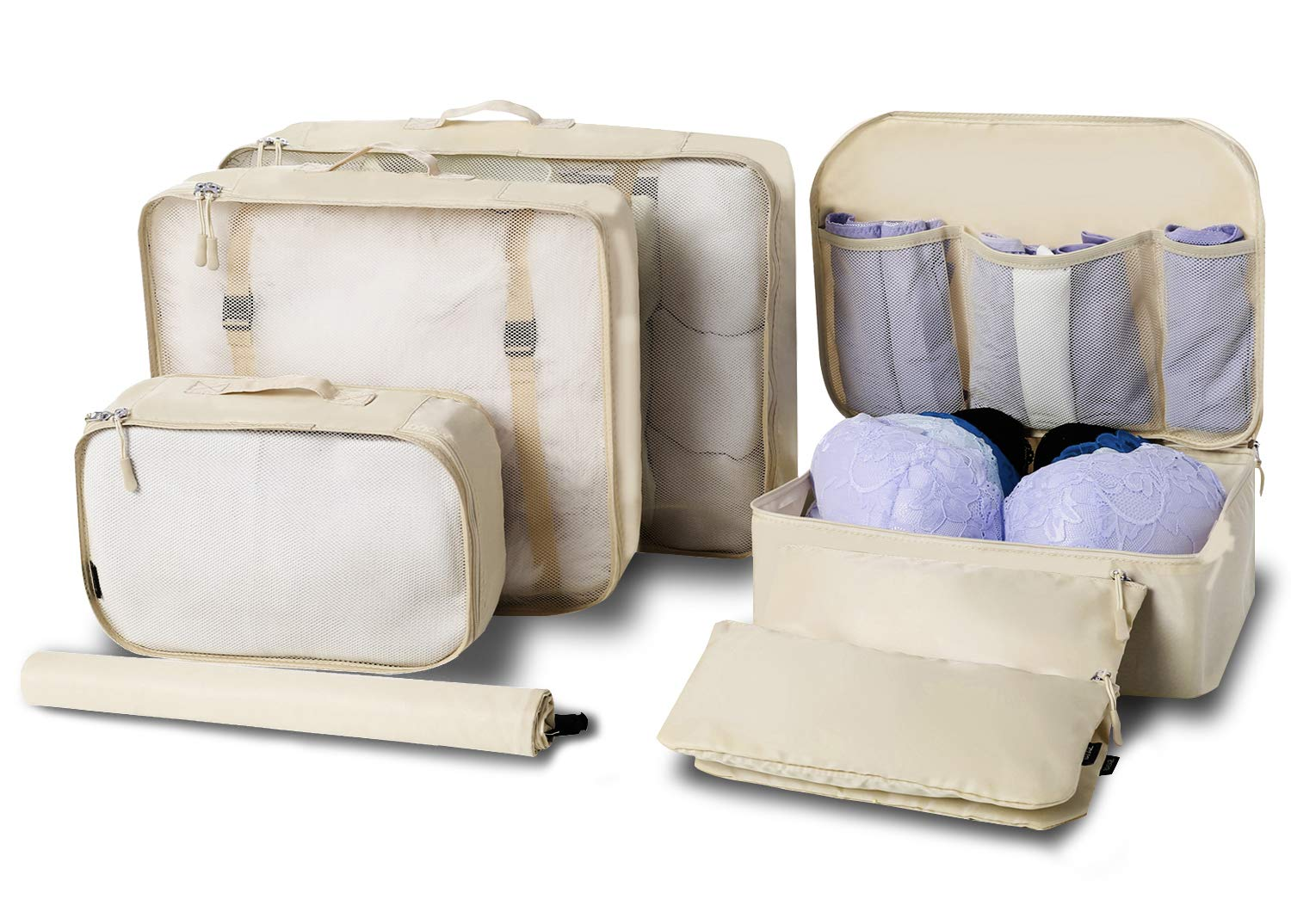 BAGAIL 7-Pcs Lightweight Luggage Packing Organizers Packing Cubes for Travel Accessories Beige
