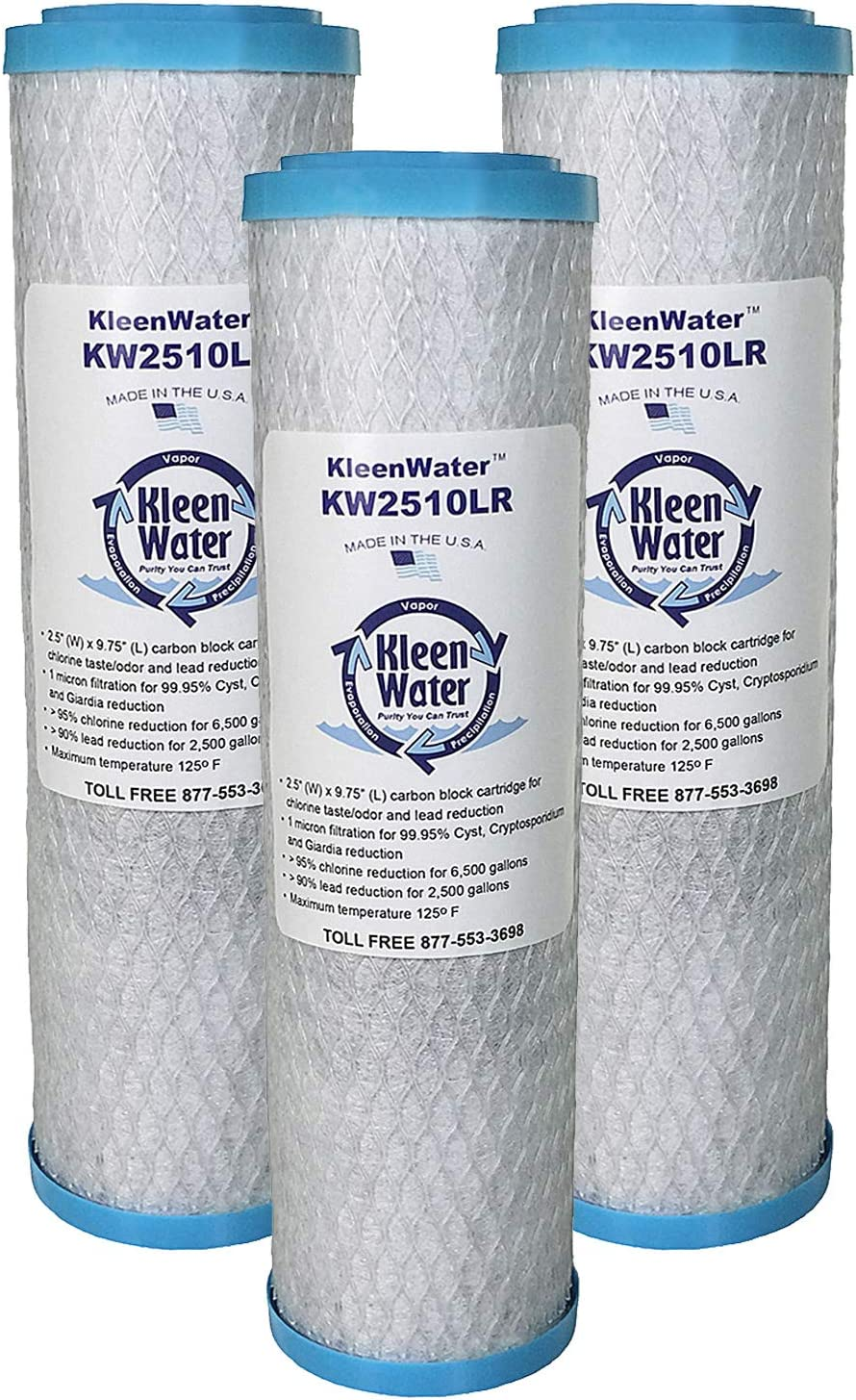 KleenWater KW2510LR Replacement Water Filters, Compatible with Whirlpool WHKF-DB2 & WHKF-DB1, Pack of 3