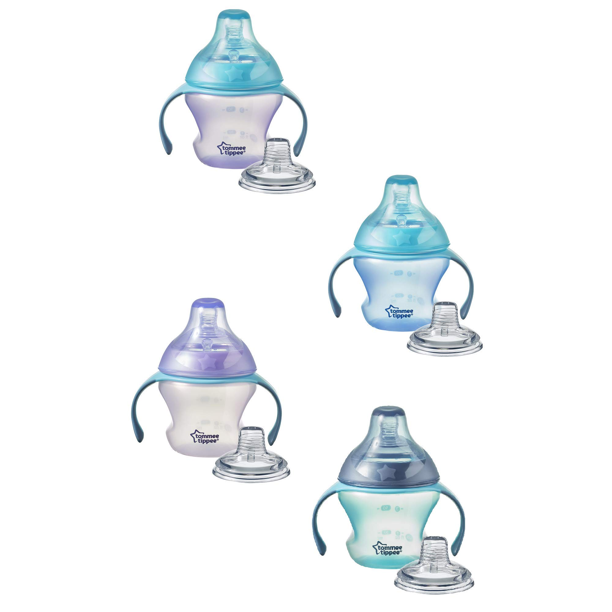 TommeeTippeeFirst Sips Soft Transition Cup, Gentle on Gums, Spill-Proof, Dishwasher Safe, 4+ months, 5 ounces, 1 Count (Colors May Vary)