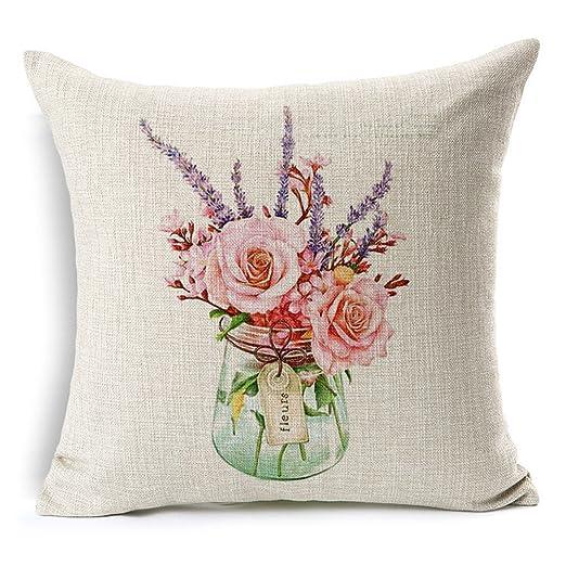 Funda de almohada pintada a mano florero en maceta de loto ...