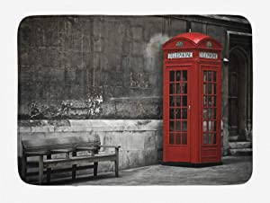 Ambesonne London Bath Mat, Famous British Phone Boot in London Streets Important of Town Urban Life Photo, Plush Bathroom Decor Mat with Non Slip Backing, 29.5