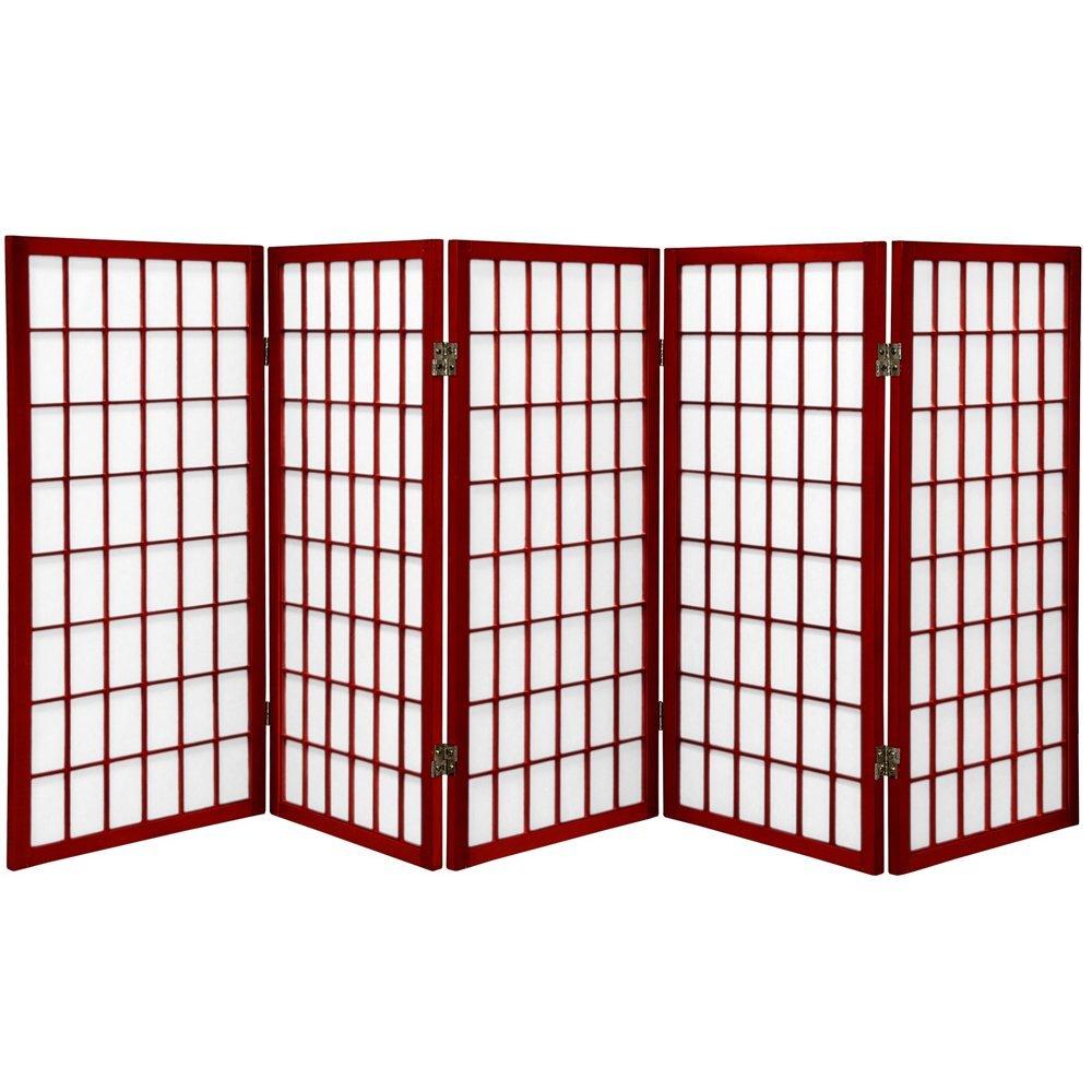 ORIENTAL FURNITURE 3 ft. Tall Window Pane Shoji Screen - Black - 3 Panels WP36-BLK-3P