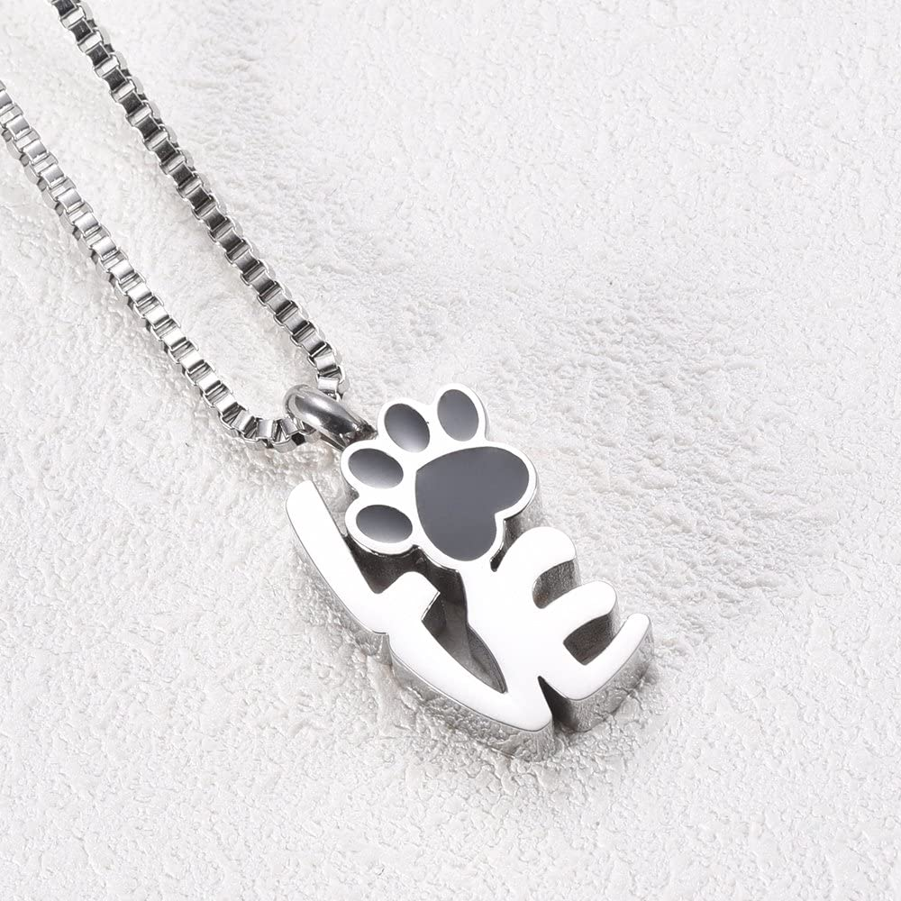 XSMZB Pet Paw Print Cremation Jewelry for Ashes Holder Urns for Dog Cat Stainless Steel Keepsake Memorial Pendant Urn Necklace Unisex