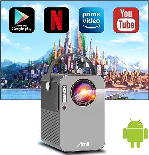 Proyector WiFi Bluetooth Android TV 9.0, Artlii Play Proyector Portátil, Corrección Keystone 4D de ± 45 ° y Zoom, Altavoces Duales, Cine en Casa de 150