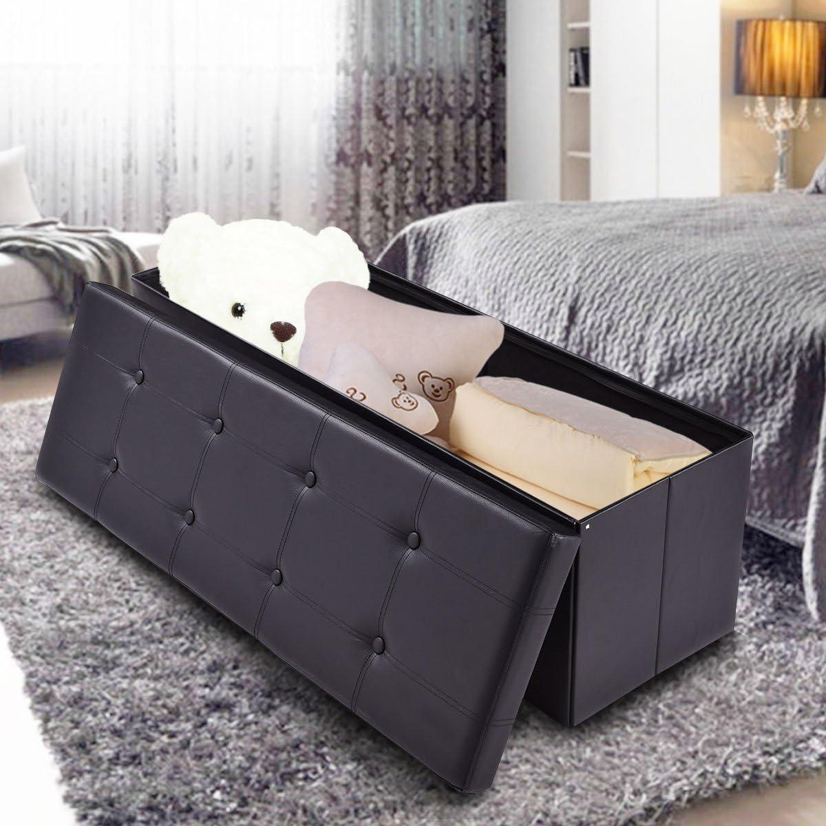 Casart Folding Storage Ottoman Faux Leather Large Bench Foot Rest Pouffe Box Stool Seat Folding Storage Box, Black Black