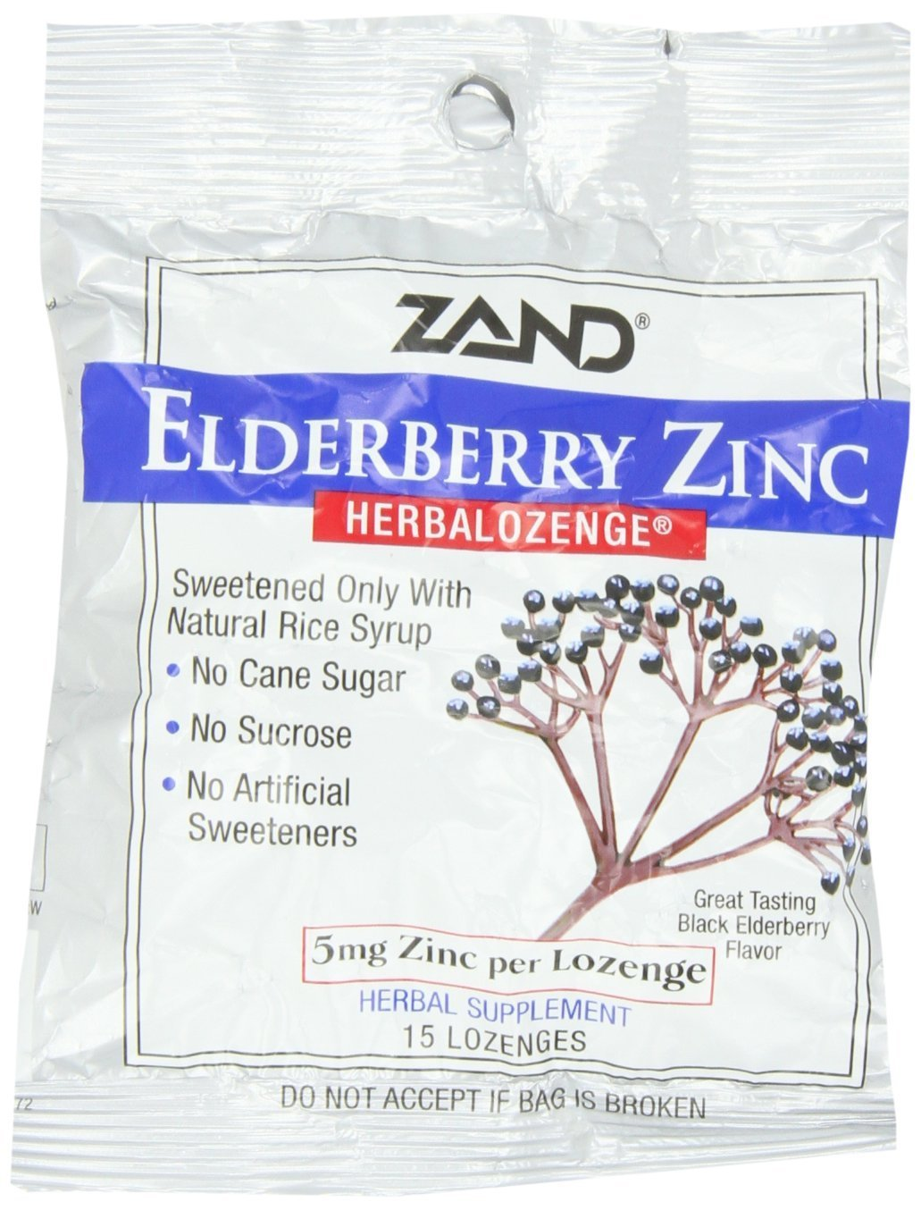 Zand Herbalozenge, Sweet Elderberry Zinc, 15 Count Pack of 12