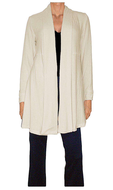 Ooh la la Women's Flowing Jersey Knit Shawl Collar Flared A-Line Cardigan Jacket (Medium 34-35, Ivory)