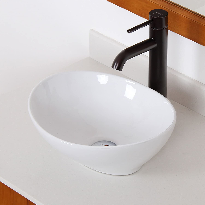 Hot Sale Elite Bathroom Egg White Ceramic Porcelain Vessel Sink Oil Rubbed Bronze Faucet Www