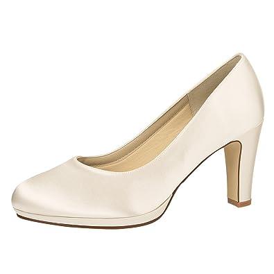 Rainbow Club Brautschuhe Grace  Pumps High Heels Ivory/Creme Satin  Hochzeitsschuhe Blockabsatz