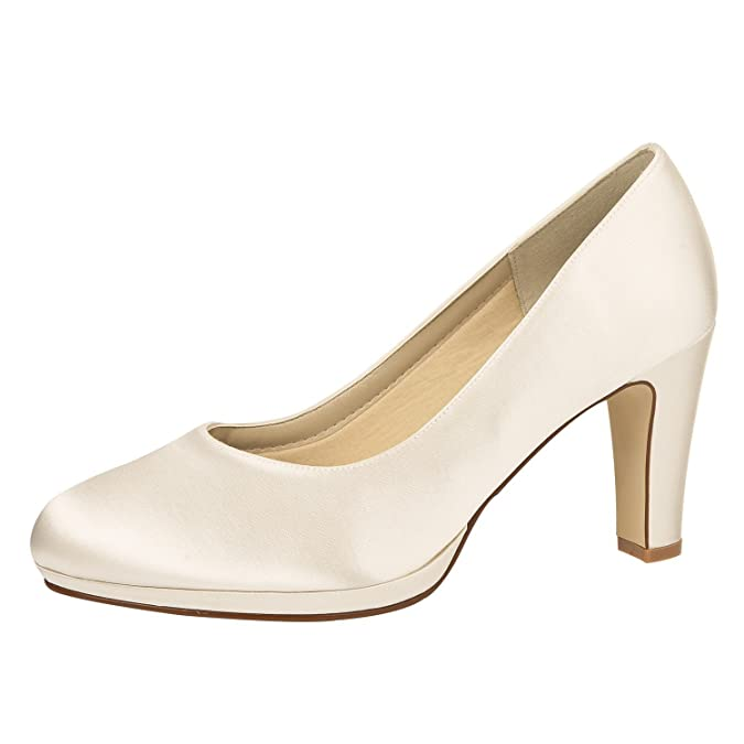 Rainbow Club Brautschuhe Grace - Damen High Heels gepolstert, Pure White, Satin