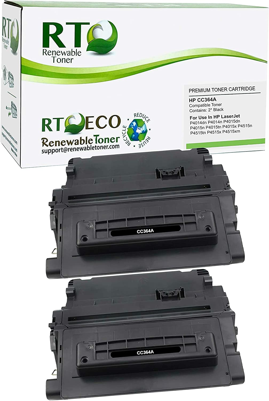 Renewable Toner Compatible Toner Cartridge Replacement for HP 64A CC364A Laserjet P4014 P4015 P4515 P4515 (Black, 2-Pack)