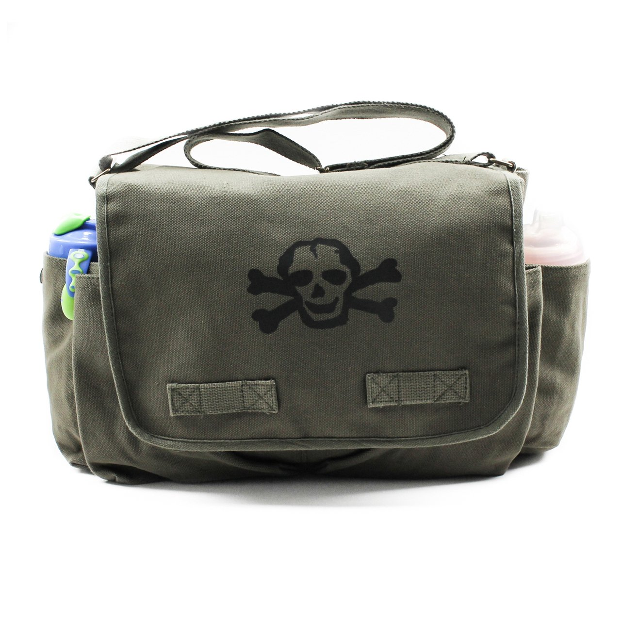 Heavyweight Carry-All Messenger Diaper Bag in Olive with A Black Scribble Skull