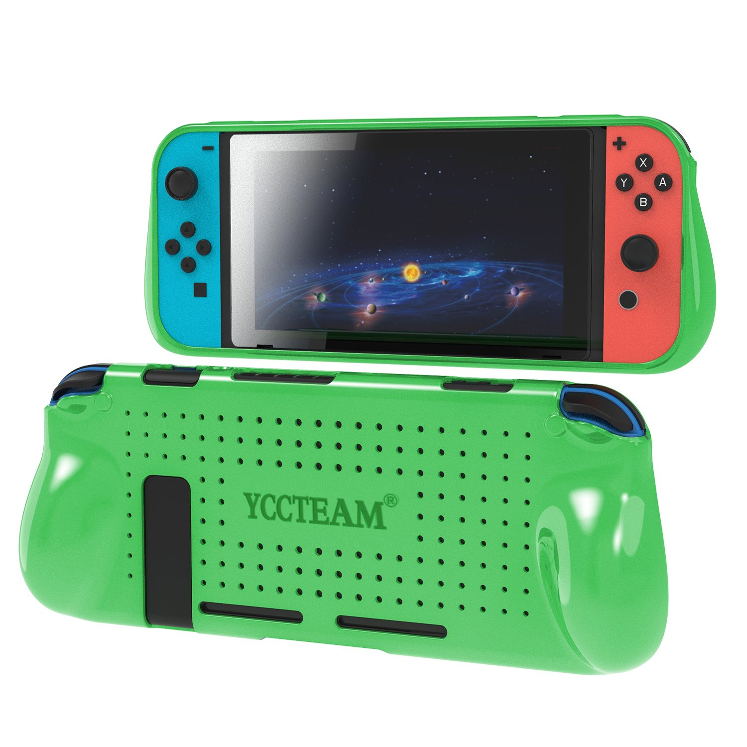 Grip Case for Nintendo Switch, Heat Dissipation Durable Silicone Protective Case Cover for Nintendo Switch Console 2017 with Comfortable Padded Hand Grips (Green)