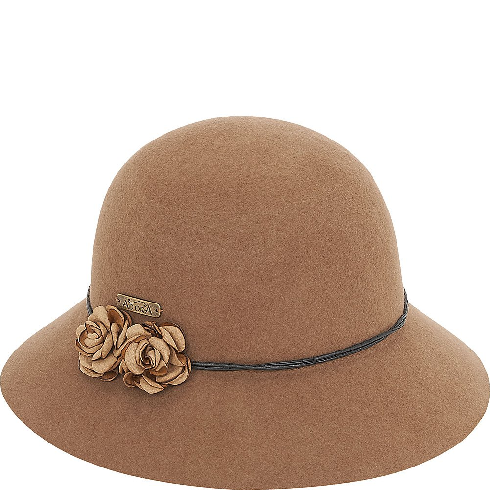 1930s Style Hats | Buy 30s Ladies Hats Adora Womens Cloche Hat - Rosebuds Felt 2.75 Brim $22.97 AT vintagedancer.com