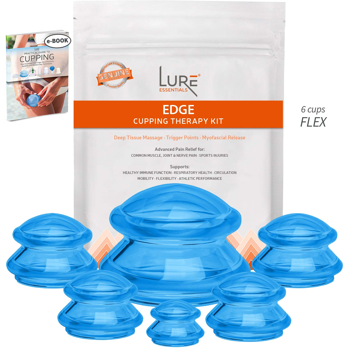 Edge Cupping Therapy Sets - Silicone Vacuum Suction Cupping Cups - Muscle, Nerve, Joint Pain Relief (Blue) by Lure Essentials