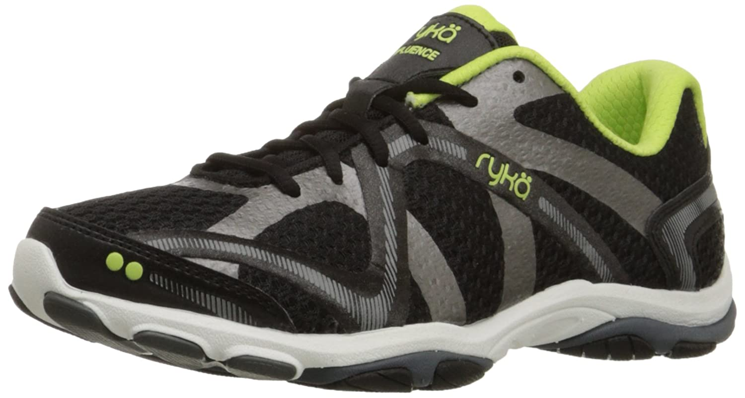 Ryka Women's Influence Cross Training Shoe B00MFX9NL2 6.5 B(M) US|Black/Sharp Green/Forge Grey/Metallic