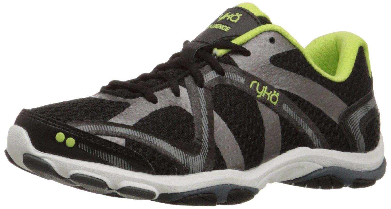 Ryka Women's Influence Cross-Training Shoe, Black/Sharp Green/Forge Grey/Metallic, 9.5 M US