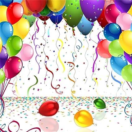 YongFoto 2,5x2,5m Vinilo Telón de Fondo Cumpleaños Globos Coloridos Cinta Confeti Fondo para Fotografia Fiesta Niños Boby Retrato Personal Estudio ...
