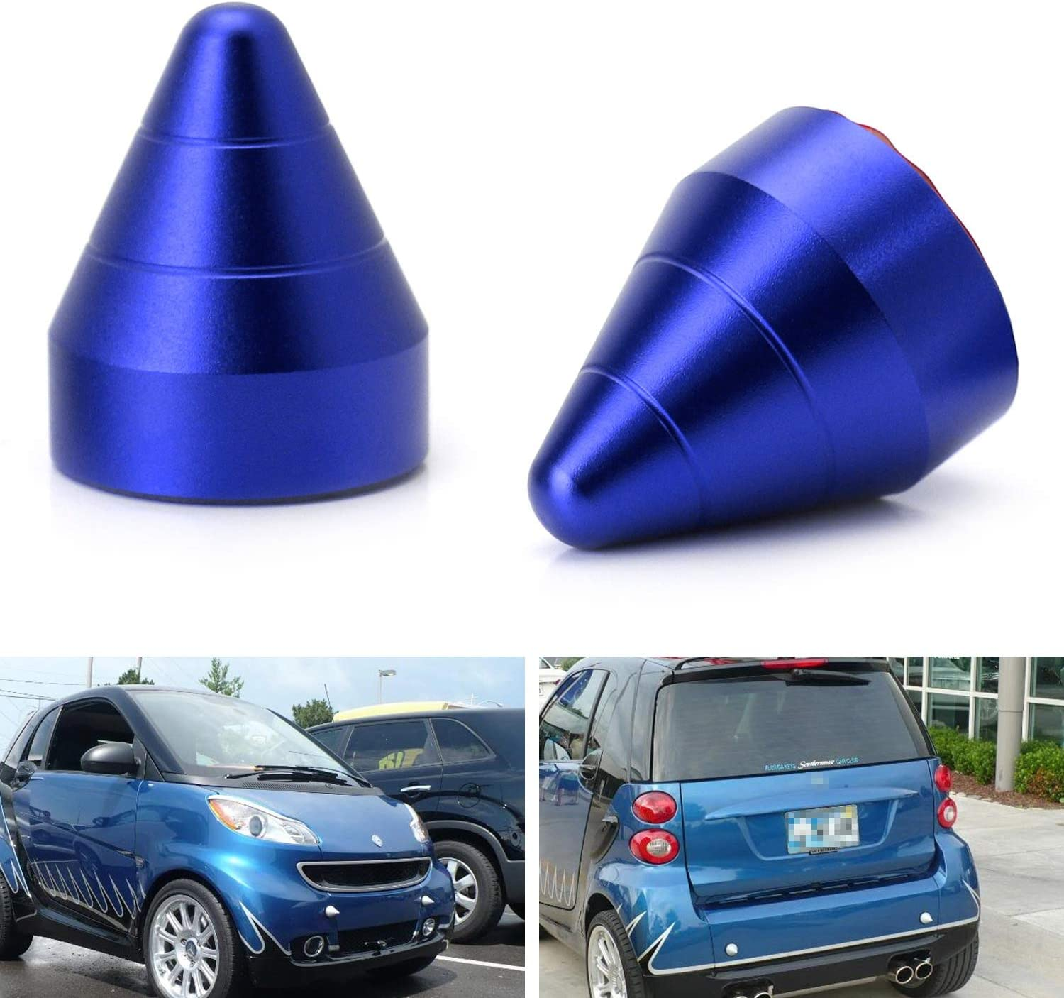 2pcs Red LicBund Front or Rear Bumper Guard Protector Collision Aluminum Tail Cone Tuning Parts Spikes Guards for Mercedze Benz Smart Fortwo 2007-2015