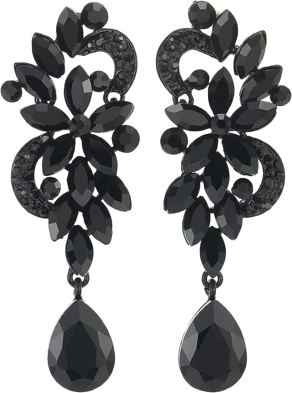 Negro Rhinestones Cristal Cluster Chandelier Araña Luces Floral Lágrima Largo Statement Declaración Pendientes Arte Deco